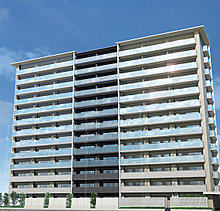 周辺の街並みに新たな景観の創造を目指したファサードデザイン。8スパン13階建てのスケール感に対して、中央2スパンに変化を持たせた左右対称のデザインによる軽やかな印象を創出しました。