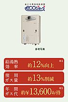 給湯から床暖房までトータルにサポートする熱源システム。※4:東京ガス従来品と比較 ※5:【試算条件】東京ガス従来品との比較。家族3人、80m2集合住宅(RC構造)を想定。