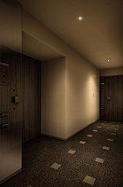 すべてのフロアに、1フロア3邸・全邸角住戸のレイアウトおよび内廊下設計を採用。落ち着きあるダウンライトとシックなカラーのカーペットが、ホテルライクな時間を演出します。