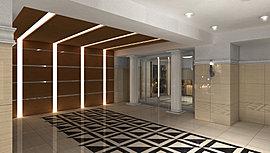格調とモダンが調和する迎賓の空間。ナチュラルな色合いや質感に配慮しながら厳選した天然大理石やテラコッタタイル・大理石調タイルの採用。テーマとしたのは「イタリアのお城」を想い起させるような迎賓の空間。