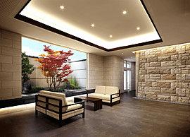 伊丹邸宅としてのゆとりを感じさせる趣。アプローチから連続したさび石の壁にエスコートされながら歩みを進め、エントランスをくぐると、伊丹の歴史的景観要素を取り入れた坪庭が広がります。
