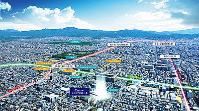 航空写真※掲載の航空写真(2021年3月撮影)にCG処理を施したもので、実際とは異なります。光柱は現地を示すもので、高さ、規模等を表したものではありません。,1LDK+F~3LDK,面積55.06㎡~76.33㎡,価格3,200万円台~5,300万円台(予定),JR山陰本線(嵯峨野線)「二条」駅 徒歩8分,京都地下鉄東西線「二条」駅 徒歩9分,京都府京都市中京区壬生神明町1-61(地番)