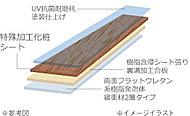 表面に特殊加工シートを施したシートフローリングを採用。ワックスの必要がなく、汚れやキズ、紫外線による日焼け、ひび割れに強いのが特徴です。