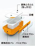 浴槽周囲の「断熱材」と「断熱ふろふた」が包み込み、4時間経過しても温度低下を約2.5℃以内に抑制。追い焚き回数を少なく抑える事ができます。