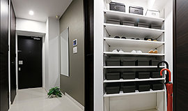 玄関には、家族みんなの靴をたっぷり収納できるシューズインクロークを採用で、玄関スペースがすっきりと美しく使えます。