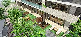 戸建て感覚でご利用いただける芝貼りの1階専用庭を、3つの異なるガーデンスタイルでコーディネートしました。※セレクトには申込期限がございます。詳しくはお問い合わせ下さい。※専用庭の画像は完成予想図のため、植栽の種類等は一例です。