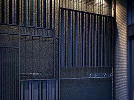 エントランス入口正面には、意匠格子を採用して、日本建築ならではの見え隠れや陰影を表現しています。