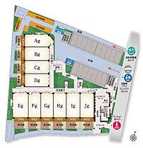 邸宅の領域を主張する堅固なフォルムと端正な表情。道路沿い及び敷地の北側に、駐車スペースやエントランスなどの共用施設を配置。住棟は2棟で構成することにより、角住戸の比率を高め、独立性をアップしました。