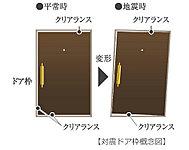 玄関ドア枠の間に隙間を設置。万が一、地震時にドアが変形しても玄関からの脱出が確保できます。
