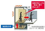 エレベーターの運行に支障をきたす規模の地震をセンサーが感知するとエレベーターは最寄り階で自動的に停止。