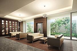 重厚感のあるインテリア、シックな木目を基調とした空間デザインにより高級感を演出したラウンジスペース。落ち着いた安らぎの空間にはシャンデリアが輝き、ゆったりとしたソファで寛ぎながら、ライブラリの雑誌や書籍を愉しむこともできます。