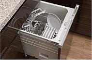 洗浄性を高めるサークルラック付のビルトイン型食器洗い乾燥機を装備。手洗いに比べ水量を抑えることができ、節水につながります