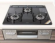 デザイン性に優れ、お掃除も簡単。温度センサー、消し忘れ・焦げつき消火機能を備えています。(オプションにてIHに変更可)