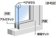 内窓サッシにペアガラスを採用。断熱効果を高め、優れた遮音効果を発揮します。