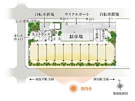 三方が歩道のある道路に囲まれた敷地のため、とても開放的。また、各所に配された可憐な花木が潤いのヴェールとなり、新たな自然環境を創出します。