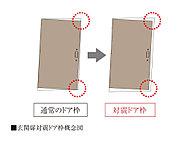 地震時の揺れによって玄関ドア枠が変形した場合でもドアが開閉しやすく避難路を確保できるようドアとドア枠の間に適度な隙間を設けた対震ドア枠を採用