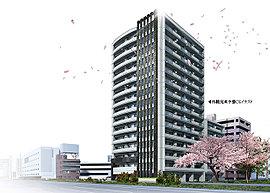 街の景観を形成する建築物として、その表情はどうあるべきか。吟味を重ね、導き出された答えは洗練。15階建(一部7階建)の伸びやかな外観フォルム、曲面とスリッドガラスで構成したファサード、そして四季を彩る豊かな植栽。