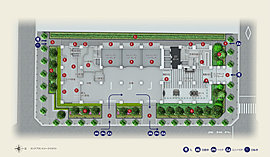 A:歩車分離設計 B:オートロックシステム C:宅配ボックス D:24時間・毎日ゴミだし可能(一部除く) E:バイク・ミニバイク置場 F:駐車場 G:植栽計画