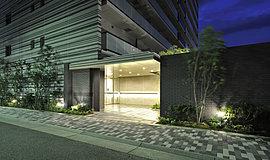 住まう方にとって誇らしい、品格を湛えたエントランス。迎賓の思想を重視し、住棟とは別の造形として存在感を高めたエントランス。