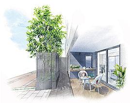 「Hgタイプ」には寛ぎの空間として活用できるテラスと庭をご用意。ガーデニングや、家族でお茶を楽しむなど、ライフスタイルに応じてご活用いただけます。また、ガーデンエントランスから直接室内に入れるので、自転車やベビーカーでのご帰宅も快適です。
