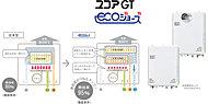 新世代型(潜熱回収型)は、従来の給湯器では約80%が限界だった給湯効率を、排気熱・潜熱回収システムにより約95%まで向上。