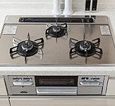 汚れにくくお手入れが簡単なガラストップガスコンロ。水なし両面焼グリルなど、料理に役立つ機能付き。