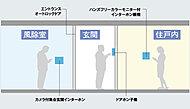 来訪者を事前に確認できる安心のセキュリティチェック。※モニター表示は集合玄関のみです。ドアホン子機は音声のみです。