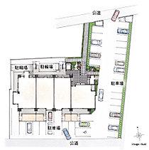 全邸分の駐車場を平面式でご用意しました。1階の4住戸では、専用庭の横に専用駐車場を設置。A-1、B-1、C-1の各タイプは縦列で2台のマイカーを駐車できます。