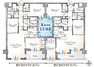 全邸が約7m~最大約9.3mのゆったりとした間口をもつワイドスパン設計。バルコニー面に3室を並べたり、ワイドな窓から陽射しを取込む心地よさ。