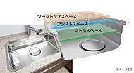 水はね音などを抑える静音シンク。内部に水切りプレートなどをセットして、シンクを立体的に活用でき、広い作業スペースが実現します。