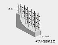 柱とともに建物を支える耐震壁には、鉄筋を二重格子状に組み込んだダブル配筋を採用。高い強度と耐久性で暮らしの安心を守ります。