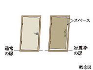 地震による大きな揺れによって玄関ドアがゆがんでも開けられるよう、ドアとドア枠の間に適度な隙間を設けた対震ドア枠を採用。