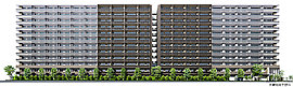 街の新たなシンボルとなる、255邸のランドマークレジデンス。地上12階建て、総戸数255邸の壮大なスケールにふさわしく、シンボリックな外観デザインを追求。未来へ進化を続ける街にふさわしい「はばたきの砦」をモチーフに設計しています。