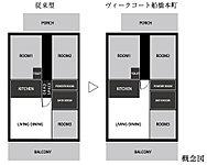 従来型の廊下の余分なスペースをカットし、デッドスペースの少ない空間設計を実現。