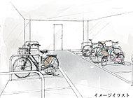 屋根が付いた平置き式のサイクルポートを全戸に各2台分スペースをご用意しました。お子様でも簡単に駐めることができます。※イメージイラスト