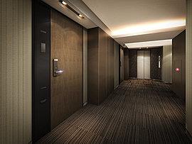 エントランスから各住戸へのアプローチは、プライバシー性の高いホテルライクな内廊下を採用しています。外部からの視線を遮るとともに、不審者の建物内への侵入を防ぎセキュリティ性も高めています。