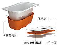 """4時間後の温度変化はわずか約2.5℃。浴槽保温材と保温組フタの""""ダブル保温""""構造で、お湯が冷めにくい浴槽です。保温構造で光熱費も節約。"""