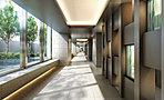 多彩な共用施設へとエスコートする開放的なグランコリドー。