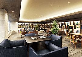 青山ブックセンターが選書する話題の書籍が並ぶ ライブラリーラウンジ