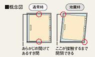 地震時、ドア枠の変形による室内への閉じ込めを回避できるよう、耐震ドア枠を採用しました。万が一の場合にも玄関ドアを避難経路として確保できます。