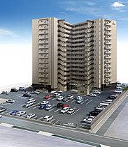 <平面駐車場・屋内駐輪場>駐車スペース(平面)は住戸126戸に対し160台分(来客用2台分を含む)を用意。全てが平面駐車場で、ご用意しています。 また駐輪場も自転車252台分を用意しています。