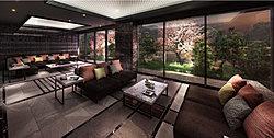 エントランスラウンジは、住まう人、訪れる人を優雅に迎え入れるゆったりとしたスペース。壁面や床に設えた重厚感のある建築素材とともに、ソファやテーブルなどの格調高いインテリアが、空間に真の品格を与えます。