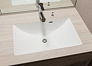 継ぎ目がなく、お手入れがしやすいボウル一体型の洗面カウンター。ウッド調のデザインがエレガントな空間を演出します。