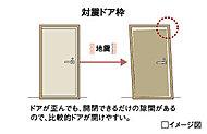 避難経路を確保するため、ドアとドア枠の間に隙間を確保し、多少変形した場合でも開閉できるよう配慮しました。※想定以上の強い圧力が掛かると、扉が開かなくなる場合があります。
