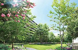 プロジェクトが目指す環境創造のシンボル。豊かな緑を配した約820m2の空間に「お花見広場」や「芝生広場」、「散策路」といった変化に富んだランドスケープを描き、人と自然、人と人がふれあう、憩いの光景を創造します。