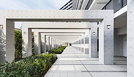 「グランドパティオ」からさらに奥へと続く、モニュメントのような回廊。それは光のトンネルのような幻想的な風景で、私邸へと誘う「グランドコリドー」。まるでアトリウムのような意匠美を追求した「シティテラス平井」の空間づくりを象徴する佇まいです。
