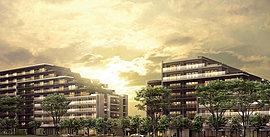 総敷地面積18,700m2超。エアーズコートとブリーズコートの2つのステージに展開する2敷地7棟の全373棟の大規模高台街区が誕生。※1