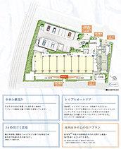 ※掲載の敷地配置概念図は、計画段階の図面を基に描き起こしたもので、形状・色等は実際とは多少異なります。また、一部敷地外の道路等を合わせて着彩しています。