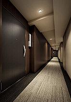 ホテルライクな日常を演出する内廊下設計。私邸としての品格にこだわった、ホテルライクな内廊下を採用。外からの視線を防ぎ防犯性を高めとともに、天候や季節に左右されない快適性、優れた防犯性や静謐性を実現。