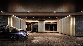 住まう方やゲストを歓待する、もうひとつの顔。お車をご利用する方々のライフシーンの質にも配慮。上質な車寄せのあるコーチエントランスは、車の乗り降りをスムーズにし、建物内との優雅な移動を支える。